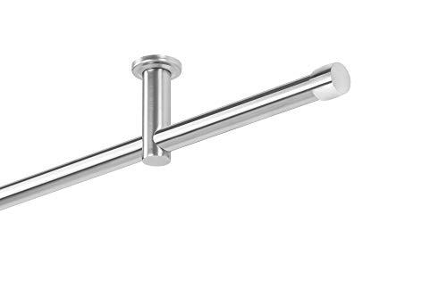 Dekobase Vorhang Gardinenstange Metall Andrax Deckenbefestigung Decken Montage 1 läufig komplett Set, 20 mm Ø, Edelstahl-Optik, 220 cm