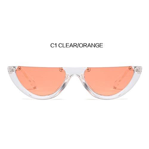 MOJINGYAN Zonnebrillen, Half Frame Trend Zonnebril Vrouwen Semicirkel Zonnebrillen Retro Dames Kat Oogschaduw Oranje
