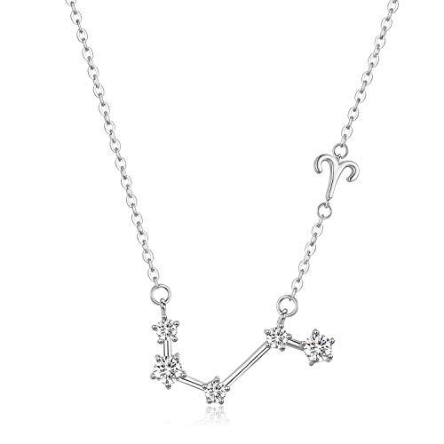 Colgante de constelación de plata esterlina, collar de Aries, signo del horóscopo, regalos de cumpleaños de marzo a abril para mujeres, astrología, collar de la estrella del zodiaco, cadena de 18 -