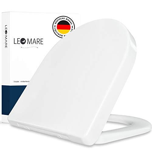 Premium WC Sitz mit Absenkautomatik D-Form, Duroplast weiß, Toilettendeckel abnehmbar, Edelstahl Scharniere rostfrei, Softclose Toilettensitz, Klodeckel + Klobrille Antibakteriell, einfache Montage