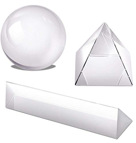 Hartop Clear K9 Crystal Ball Crystal Pyramid Crystal Triangular Prism with Microfiber Pouch Wiper Cloth for Photography Accessory and Art Decor