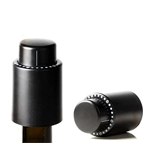 Tapón de botella de vino, tapón de vacío real, tapón de vino reutilizable, tapones de champán con marcador de fecha, corcho de vino fresco, se adapta a todas las botellas de vino/champán