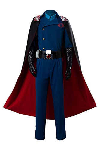 MUCLOTH Cobra Commander Cosplay Costume Uniform Full Suit Outfit Male (XL) Blue