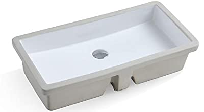 KINGSMAN Durable 27.9 Inch Rectrangle Undermount Vitreous Ceramic Lavatory Vanity Bathroom Sink Pure White (27.9 INCH)