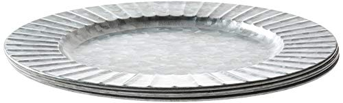 "Circleware Set of 4-13"" Steel Silver Charger Plates, Classic Round All Occasion Entertainment Dinnerware Dishes, Limited Edition Home Food Service Decor, 4-pack, Galvanized-Ribbed"