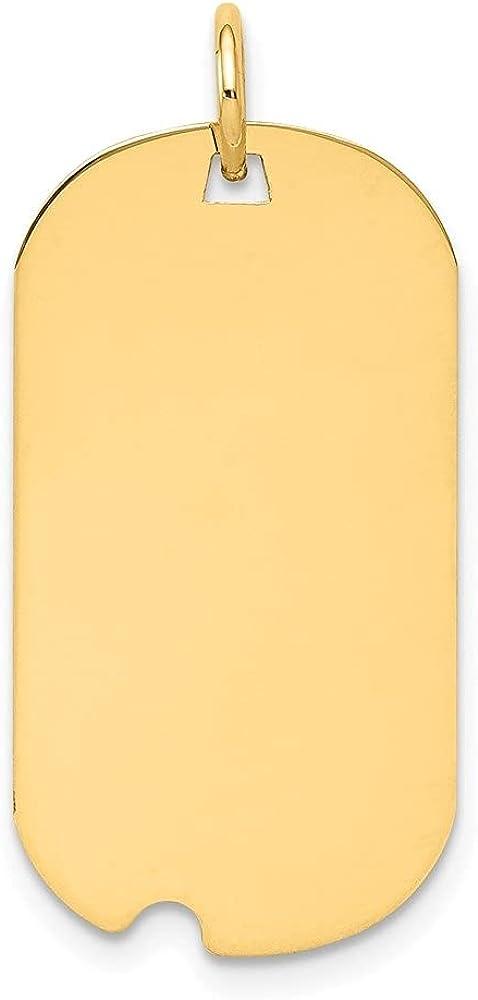 14k Yellow Gold Plain .027 Gauge Engraveable Dog Tag Notch Disc Pendant (L- 28 mm, W- 15 mm)