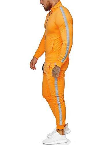 Code47 | Herren Trainingsanzug | Jogginganzug | Sportanzug | Jogging Anzug | Hoodie-Sporthose | Jogging-Anzug | Trainings-Anzug | Jogging-Hose | Modell JG-1068 Neon-Orange XXL