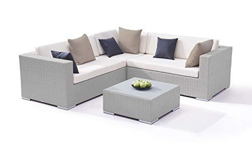 Talfa Ben - Conjunto de muebles de jardín (ratán sintético), color gris satinado