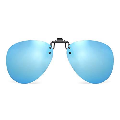 JM Polarizadas Clip en Gafas de Sol Sin Marco Flip up Lente Estilo Aviador Para Gafas Graduadas Azul Espejo