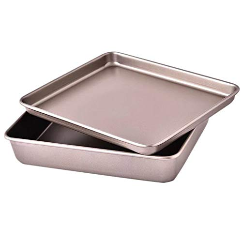 Small Cookie Sheets 11 X 9 Inch Set of 2 Mini Baking Tray Toaster Oven Replacement Pan Nonstick Thicken Brushed High Carbon Steel No Warp Magnetic Bakeware by HYTK