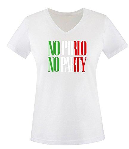 Luckja EM 2016 Trikot Italien Fanshirt No Pirlo No Party EM03 Damen V-Neck T-Shirt