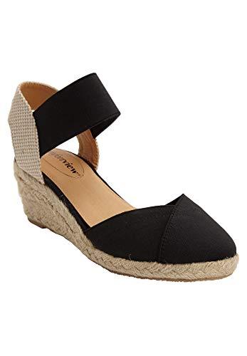 Comfortview Women's Wide Width The Abra Espadrille Sneaker - 10 M, Black