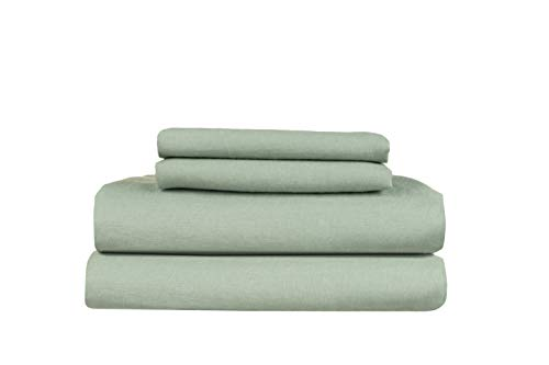 European Made Pure Linen Sheets Set (Flat, Fitted and 2 Pillowcases). 100% Fine Organic and Natural Flax (Full, Viridian Sage)