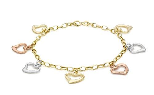 Carissima Gold Damen 3- farbig Herz 7-Charm Belcher Armband 9k(375) Gold 3mm 18cm/7zoll