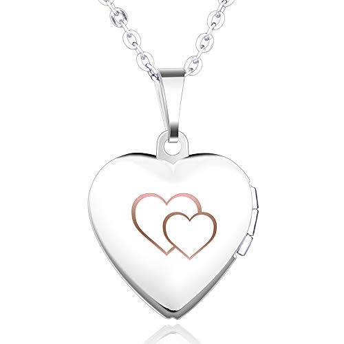 Feilok Herz Medaillon zum Öffnen Photo Bilder Herz Anhänger Halskette Herzanhänger Amulett Geschenk für Damen Mädchen Mutter