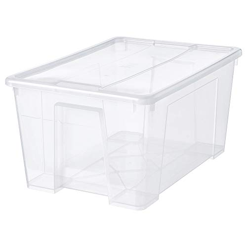 SAMLA caja con tapa 57x39x28 cm transparente