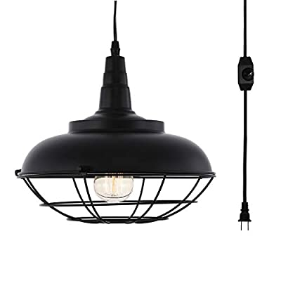 HMVPL Industrial Barn Plug in Pendant Light with 16.4 Ft Hanging Cord and On/Off Dimmer Switch, Metal Ceiling Lamp Fixture for Kitchen Island, Dining Room, Bedroom or Barn