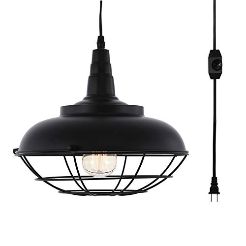 HMVPL Industrial Metal Cage Swag Pendant Light with Plug in Cord and Dimmer...