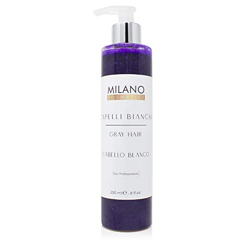 Milano Champú Gray Hair Cabello Blanco 250 ml Champú profesional sin sulfatos ni parabeno diseñado para matizar, cuidar y potenciar el pelo blanco, gris, decolorado o con mechas.