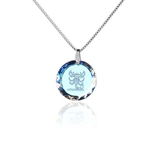 Silberkette Halskette 925 Silber Sternzeichen Tierkreiszeichen Skorpion hergestellt mit Swarovski®Kristall