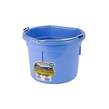 Miller Manufacturing P8FBBERRYBLUE Plastic Flat Back Bucket for Horses, 8-Quart, Berry Blue
