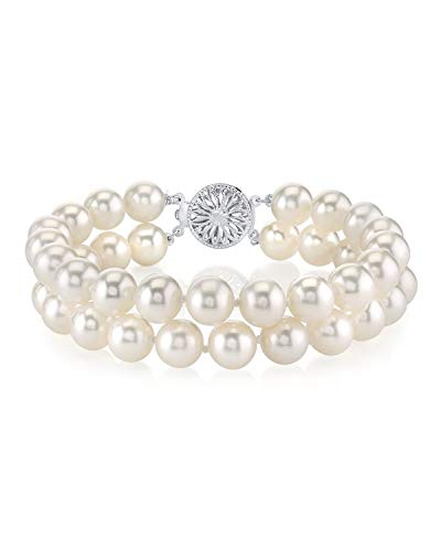 THE PEARL SOURCE Sterling Silver 6-7mm AAA Quality Round White Freshwater Cultured Pearl Double Strand Bracelet for Women