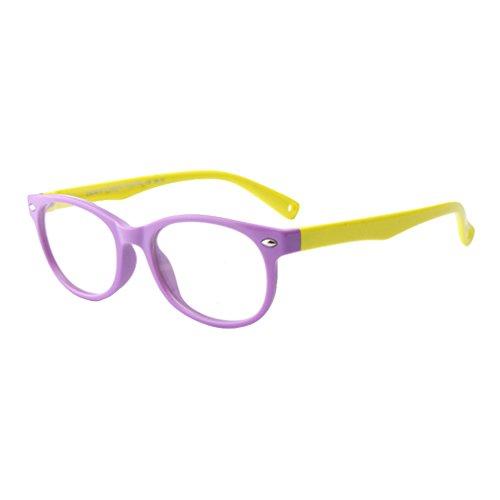 Hibote Gafas para niños - Silicona - Gafas de lentes transparentes marco Geek/Nerd gafas con forma de coche gafas caso - 18071008