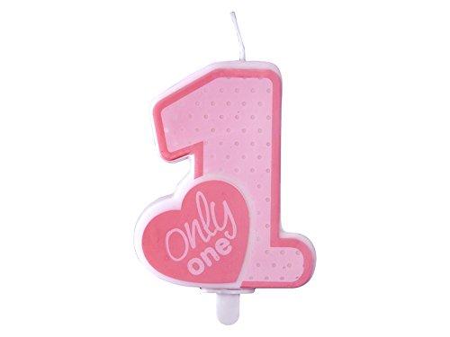Geburtstags-Kerze Zahl 1 in rosa pink zum 1. Kinder-Geburtstag zum Aufstecken auf Kuchen & Torten / Party-Deko Happy Birthday ersten Geburtstag / Geburtstags-Feier / Geburtstags-Deko