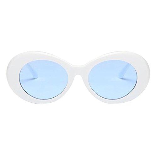 SM SunniMix Gafas de Sol Unisex de Forma Ovalada Gafas de Sol Gafas de Sol Gafas de Montura de Plástico - Blanco + Azul