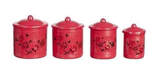 Melody Jane Maison Rouge Boîte Jarres de Stockage Miniature 1:12 Échelle Accessoire Cuisine