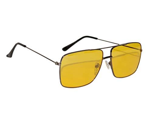 Peter Jones Black Frame Yellow Lenses Night Vision Square Unisex Sunglasses (DE494)
