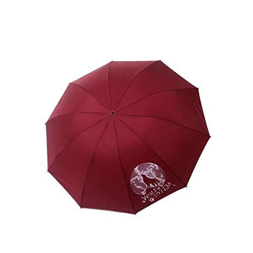 YNHNI Paraguas plegable con protección solar reforzada, protección contra rayos UV, lluvia y lluvia, portátil, color rojo burdeos