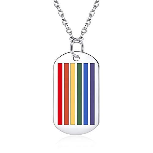 ChicSilver Plata de Ley 925 Collar de Gays y Lesbianas Colgante Placa de Idendidad Accesorio Decorativo Arco Iris Orgullo LGBT