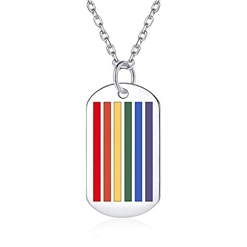 925 Sterling Silver Rainbow LGBT Necklace Lesbian Gay Pride Jewelry Bisexuals Transgender Accessories Unisex Tag Pendant