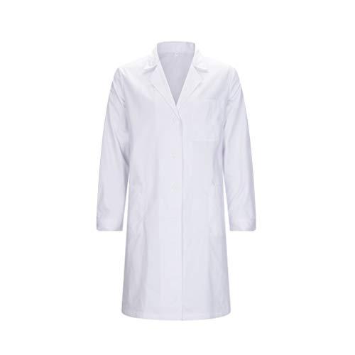 MISEMIYA - Bata Laboratorios Caballero Cuello Solapa con Manga Larga Uniforme Laboral CLINICA Hospital Limpieza Ref:816 - M, Batas Laboratorios 816-2 Blanco