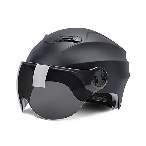 Momo - Casco Jet con protección solar, lente negra, para bicicleta/moto, casco...