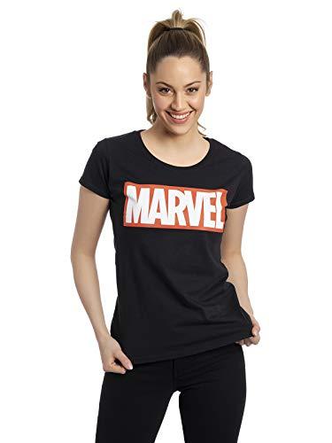 Marvel Logo Mujer Camiseta Negro XXL, 100% algodón, Regular