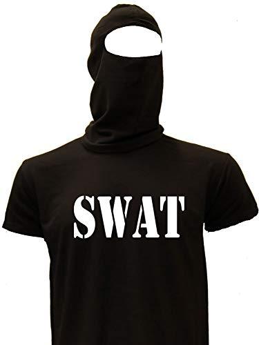 Coole-Fun-T-Shirts SWAT kostuum GEBRUIKZCOMMANDO set bivakmuts + T-shirt of hooded sweatshirt zwart S M L XL XXL 3XL 4XL 5XL en kinderkostuum 104 116 128 140 152 164cm 116 Kinder T-shirt Schwarz