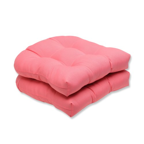 Pillow Perfect Outdoor/Indoor Fresco Melon Tufted Seat Cushions (Round Back), 19' x 19', Pink, 2 Pack