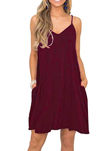 MISFAY Women's Summer Casual Loose T Shirt Dresses Beach Cover up Plain Mini Swing Dress with Pockets (M, Wine Red)