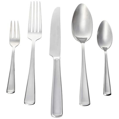 AmazonBasics -30-teiliges Besteck-Set, Silberfarben - für 6 Personen[moderner Stil]