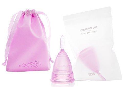 monicup Menstruationstasse lila Größe L (groß): 7,5 x 4,7cm 25 ml medizinisches Silikon Starterset mit Satinbeutel