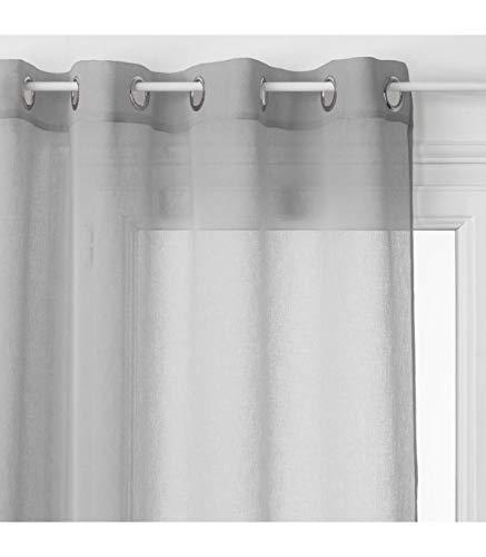 HomeMaison Voilage Léger Uni à Oeillets, Polyester, Gris, 240x140 cm