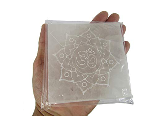 CircuitOffice OM Lotus Engraved Selenite Charging Square / Plate / Tile Slab, 3.5-4', Cleanse and Charge Crystals Or Gemstones, for Healing, Metaphysical, Meditation, Wicca, Decoration Or Gift