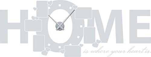 GRAZDesign 800553 muurtattoo fotolijstje klok voor de woonkamer spreuk Home wandklok met uurwerk Uhrwerk silber 072, lichtgrijs