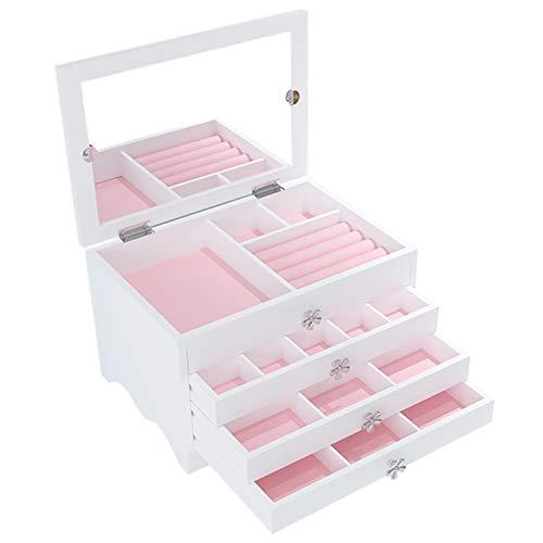 Caja Joyero con Espejo y Cajones, Caja joyero Organizador de