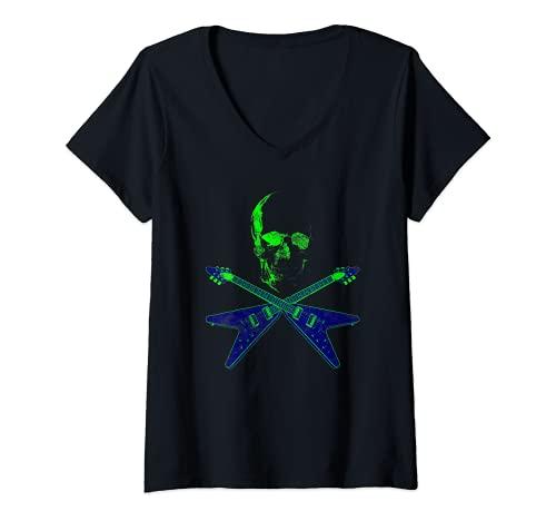 Mujer Flying V Guitarra Hard Rock Heavy Metal Música Skull Rock Camiseta Cuello V