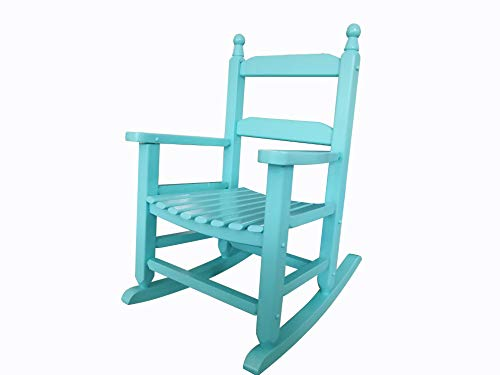 rockingrocker - K081BU Durable Bule Child's Wooden Rocking Chair/Porch Rocker - Indoor or Outdoor - Suitable for 3-7 Years Old