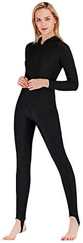 YEESAM Modest Swimwear - Taucheranzug Damen Herren Mädchen UV Schutzkleidung Sunsuit Ganzkörperansicht Badeanzug Overall Watersport (Schwarz, Int'l - XL)