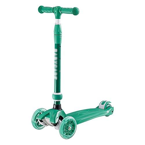CQILONG Niño Scooter, Aleación De Aluminio Barra En T Scooter, Fácil De Operar Rueda De PU Resistente Al Desgaste Acepta Niños De Diferentes Edades. (Color : Green, Size : 22X53X68cm)